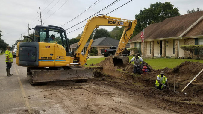 Work underway on Montz drainage improvements.