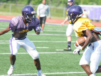 Hahnville defensive back Robert Jackson squares up a ballcarrier in spring work.