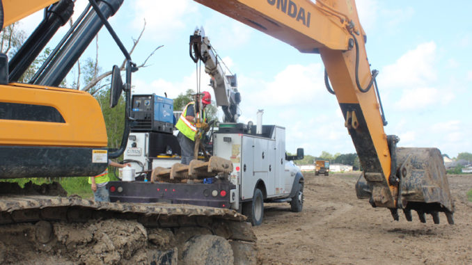 Construction underway on West Bank levees.