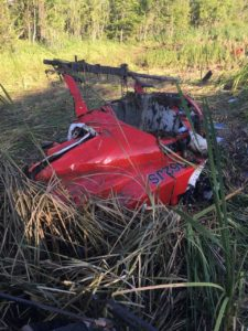 Remains of the helicopter that crashed in Boutte Sunday.